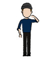 Hacker character standing wear cap pose image