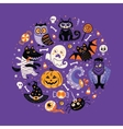 Halloween poster design set in the circle vector image
