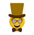 happy emoji with a gentleman hat vector image vector image