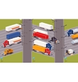 Heavy trucks parking lot vector image vector image