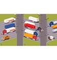 Heavy trucks parking lot vector image vector image