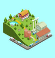 isometric dairy factory concept vector image