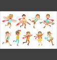 kids playing dreaming to be pilots set vector image