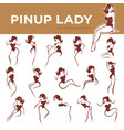 Large pinup lady poses collection for your logo vector image