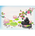 Lily blooming in the Japanese garden postcard vector image vector image
