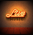 live music neon sign with 3d signboard letter on vector image