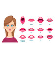 mouth animation female lips keyframes lady speaks vector image vector image