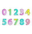numbers font type collection vector image