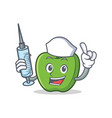 nurse green apple character cartoon vector image
