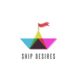Paper boat travel logo transparency shift and vector image vector image