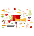 pasta elements cooking food vector image vector image