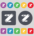 Pocket knife icon sign A set of 12 colored buttons vector image