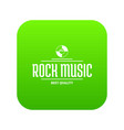 quality rock music icon green vector image vector image