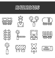 Railroads icons set