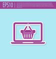 retro purple shopping basket on screen laptop vector image vector image