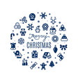 round banner merry christmas with festive vector image