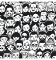 seamless pattern crowd different people woman vector image