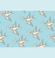 seamless pattern with old school vintage bird vector image