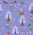 seamless pattern with winter sports penguins image vector image