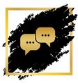 speech bubbles sign golden icon at black vector image vector image