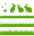 spring grass border with rabbits vector image