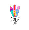 surf club logo surfing print vector image