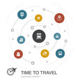 time to travel colored circle concept with simple vector image