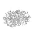 town sketch in the circle hand drawn black line vector image vector image