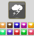 Weather icon sign Set with eleven colored buttons vector image vector image