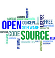 word cloud open source vector image vector image