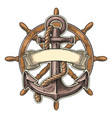 anchor and wheel with ribbon isolated on beige vector image