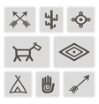 icons with native american symbos vector image