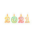 2021 year number shaped birthday candle with fire vector image