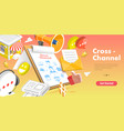 3d isometric flat concept cross-channel vector image vector image