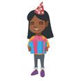 african girl in birthday cap holding gift box vector image