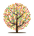 autumn tree with yellow vector image vector image