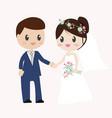 beautiful bride and groom couple in wedding dress vector image