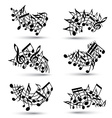 black jolly staves with musical notes on white vector image