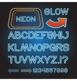 blue neon lamp letters font show banner vector image vector image