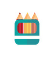 box with colors pencils school and education icon vector image