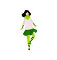 brunette girl in green costume celebrating saint vector image vector image