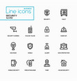 business concept security - line design icons set vector image vector image