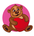Cartoon bear toy with heart vector image vector image