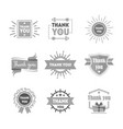 cartoon thank you badges or labels set vector image vector image