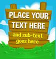 cartoon wooden board banner template green grass vector image vector image