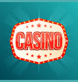 Casino banner retro light frame with glowing lamps