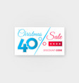 christmas sale 40 percent discount coupon vector image