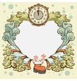 Christmas wreath retro card template vector image vector image