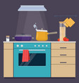 cooking pans on the electric stove vector image
