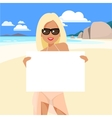 cute girl in a bikini and pareo on beach vector image vector image